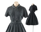 Vintage 50s 60s Day Dress Short Sleeve Dress Full Skirt Lolita Rockabilly Pinup Dress Womens Fashion 1950s 1960s Large L Little Black
