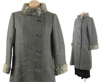 Vintage 50s 60s Wool Coat Curly Lamb Coat Gray Russian Princess Coat Fall Winter Fashion 1950s 1960s Medium M