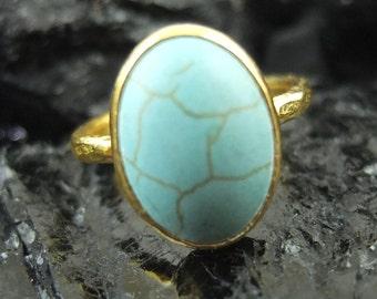 24K Gold Vermeil over 925K Sterling Silver Handmade Designer Jewelry Turquoise Ring
