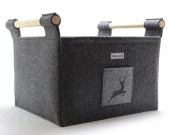 Felt Firewood Basket with Wooden Side Handles and Stag