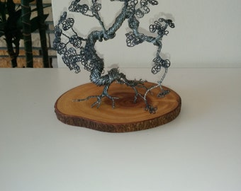 Handmade Wire bonsai Sculpture on pine wood stand