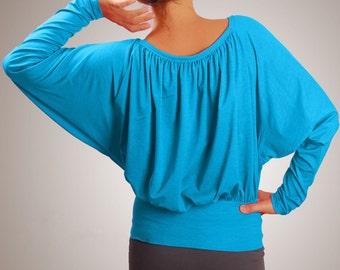 Batwing dolman sleeve feminine round neackline matenity shirt blouse top