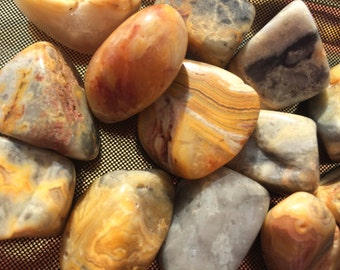 Crazy Lace Agate, Tumbled Crazy Lace Agate, Full Moon Charged, Pagan Altar, Chakra, Reiki, Meditation, Metaphysical, Crystal Grid, Be Happy!