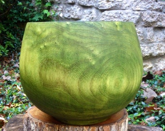 Large hand Turned Hackberry Wood Display Bowl - Dyed Olive Green
