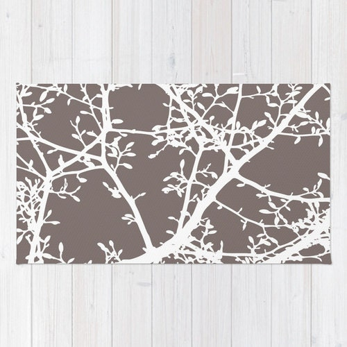 Modern Nature Rug: Brown Area Rug Magnolia Tree Branches Area Rug Modern