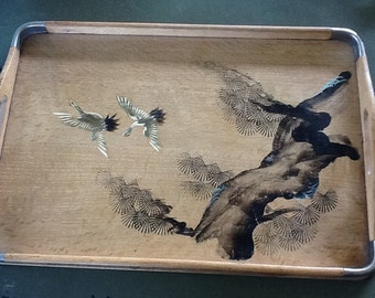 Oak tray with Japanese painting