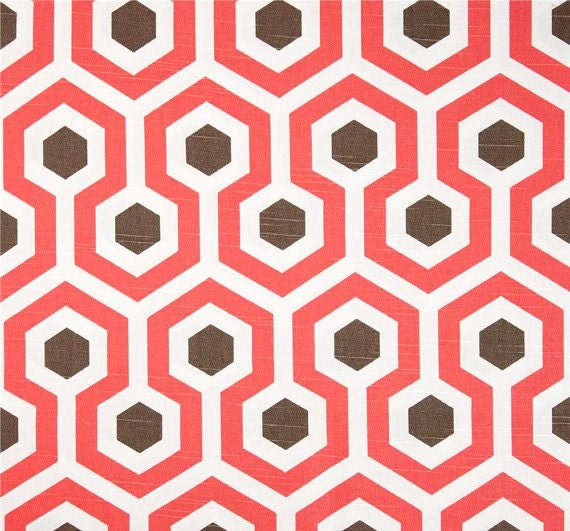coral home decor fabric by the yard modern geometric designer fabric