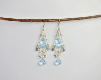 Light Blue Topaz, Aquamarine, Labradorite, White Quartz 14K Gold Handmade Chandelier Earrings