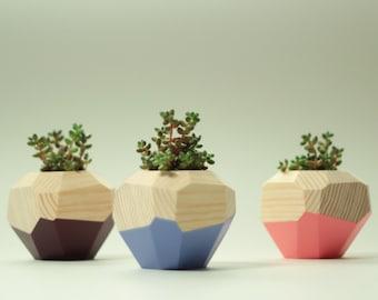 Set of Three Wooden Pot Set