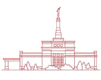 Manti Utah Lds Temple Redwork Embroidery Design Digital
