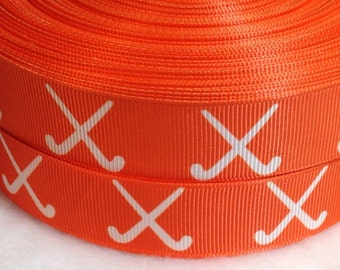 "4 Yards of Field Hockey in Orange with White Sticks 7/8"" Grosgrain"