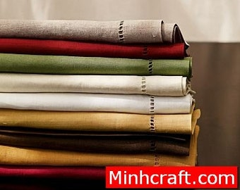 100 hemstich linen napkins in all color, 40x40 cm (15.7 inch)