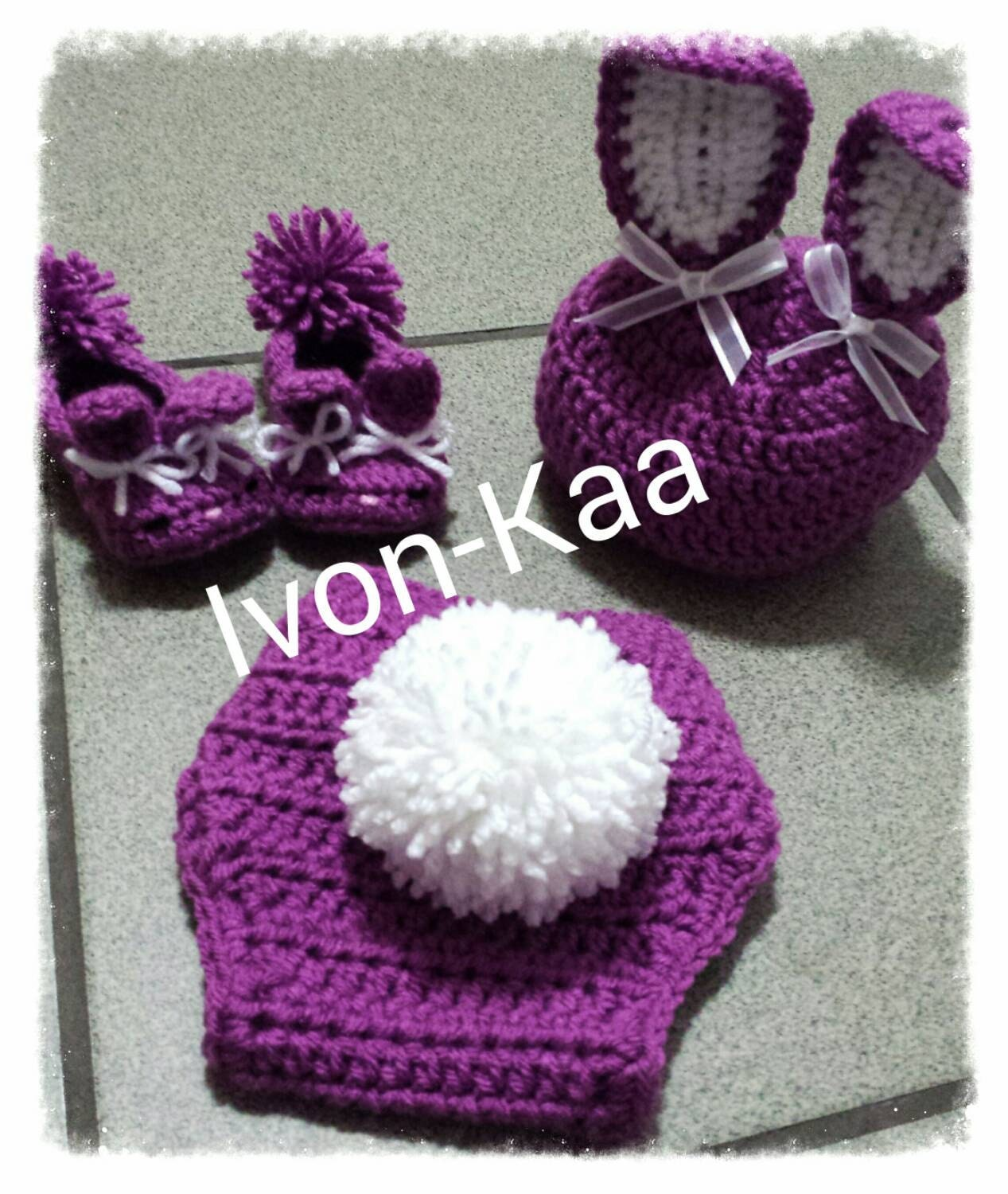 Crochet Baby Hat With Ribbon Pattern : Crochet Bunny Hat Diaper Cover Set With Ribbon Bow. Baby