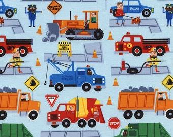 Traffic Jam Trucks in Sky/Blue By Timeless Treasures Boy Firetruck Dump truck Garbage Truck Police Car