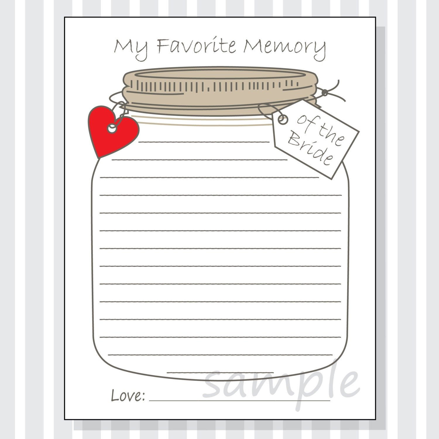 my favorite memory of the bride printable cards game for a