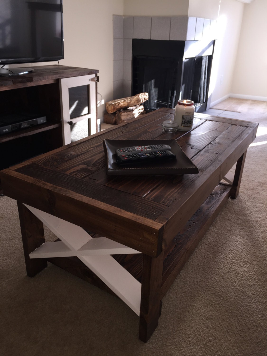 Rustic farm style coffee table with bottom by rustikrehabdesign Farm style coffee tables