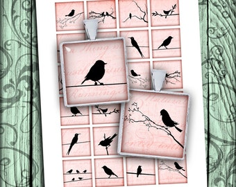 Bird Silhouettes Square Images 15x15mm, 1x1 inch, 1.5x1.5 inch Printable images for Jewelry Making Digital Collage Sheet -  Instant Download