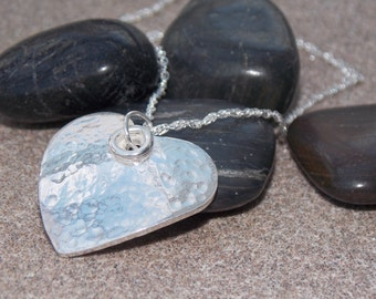 Large Sterling Silver textured heart inc. chain