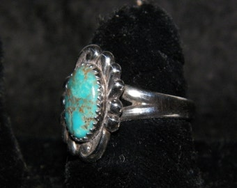 Sterling Silver Ring With A Large Piece Of Natural Turquoise