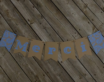 Merci banner, French banner, Thank you banner,Blue banner, Wedding photo prop, French bunting