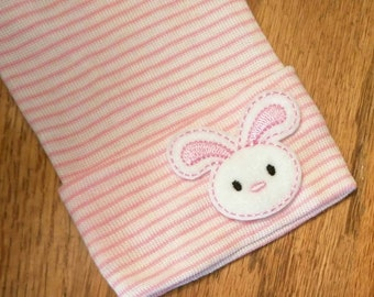 Newborn Hospital Hat Baby Beanie. Pink and White Stripe Hospital Grade Beanie with BUNNY! Cute and Makes a Great Gift and Cute Photo Prop!
