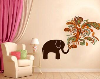 Full Color Wall Vinyl Sticker Decals Decor Art Bedroom Cheerful Elephant!