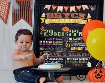 First Birthday Sign, 1st Birthday Sign, Halloween 1st Birthday Sign, Birthday Sign, Personalized Sign, Printable 8x10, 11x14 or 16x20