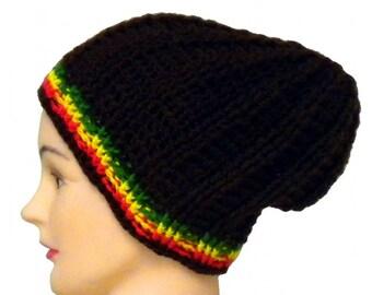 Skull fit rasta beanie, surf hat, custom rasta hat, crochet reggae beanie, Jamaica, rastaman hat