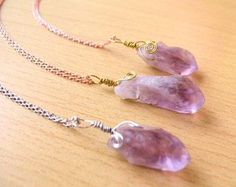 Raw Rough Natural Amethyst Necklace Voilet Amethyst Point Pendant Charms Healing Crystal
