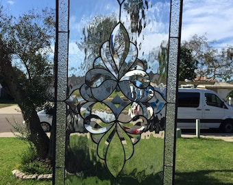 Stunning Traditional Clear Beveled Stained Glass Window