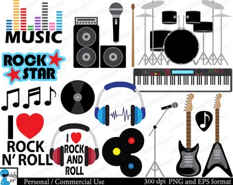 Rock and Roll - Set Clipart - Digital Clip Art Graphics, Personal, Commercial Use - 31 PNG images (00077)