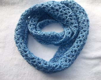 Blue crochet infinity scarf for teen or adult. Crochet infinity scarf. Warm and cozy scarf.