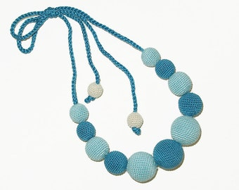 Light-blue and blue necklace / Crocheted beaded necklace / Nursing necklace / Boho necklace