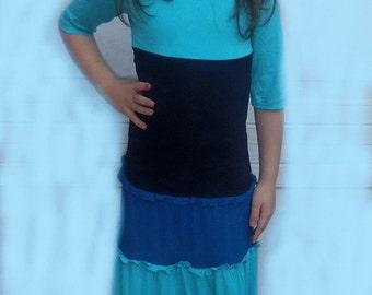 SALE-Maya Antonia-EXTRA CUTE - Blue Little Girls Matching Mommy Dress