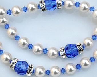 Baptism Rosary Personalized Name - September Baby Sapphire Blue Swarovski Crystals White Pearls - Catholic Baby Baptism Gift - Blue Rosary