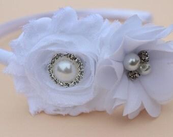 White flower headbands, white flower girl headband, toddler satin headbands, white hair accessory, girls flower headbands, wedding headband
