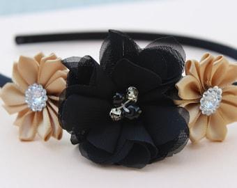 Gold and black headbands, gold headbands, gold flower girl headbands, satin headbands, gold and black hair accessory, gold wedding headband