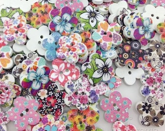 100pcs Mixed Flower Pattern Painting Wood Sewing Buttons 17mm WB06