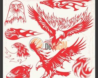 Eagles Flames Vector Cliparts Vinyl-Ready for Vehicle Graphics, Wall Decals, Scrapbooking, Clip Art, Doodles, Vector Art