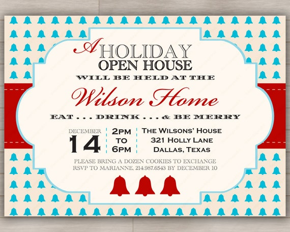 Items similar to Holiday Open House Party Invitation Christmas – Open House Party Invitation