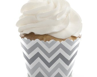 Chevron Gray Cupcake Wrappers - Baby Shower, Birthday Party, or Bridal Shower Party Cupcake Decorations - Set of 12
