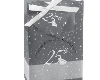 25th Anniversary Favor Boxes - Custom Anniversary Party Supplies - Set of 12