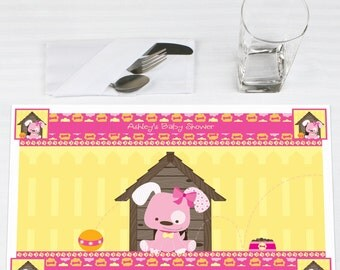 Set of 12 Pink Girl Puppy Placemats - Personalized Baby Shower or Birthday Party Supplies