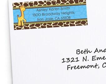 Boy Giraffe Address Labels - Personalized Return Address Sticker - 30 Count