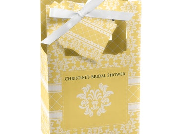 Damask Yellow Favor Boxes - Custom Bridal Shower Party Supplies - Set of 12