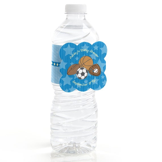 Personalized Sports Bottle Labels: 12 All Star Sports Water Bottle Labels