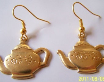 Gold Plated Tea Pot Earrings with Gold Plated Ear Wires