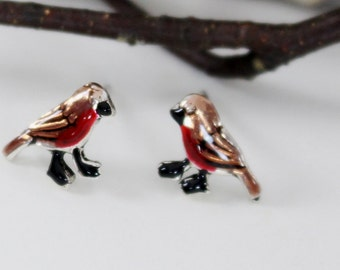 Robin red breast bird post earrings. Hand painted, hand crafted sterling silver studs. Nature, garden inspired design.
