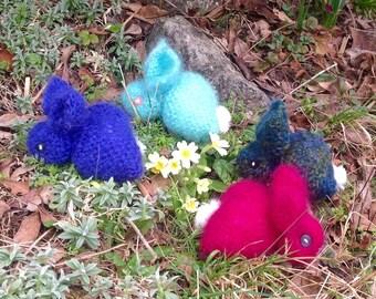 Mohair Rabbit Ornaments. Knitted Fluffy Bunnies.