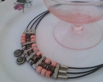 Ethnic beaded necklace leather and metal beads